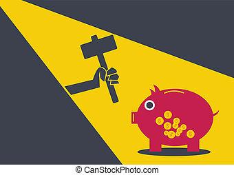 banque pièce monnaie, conceptuel, voleur