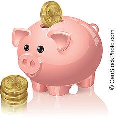 banque, pièces, porcin