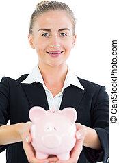banque, porcin, joli, tenue, femme affaires, rose