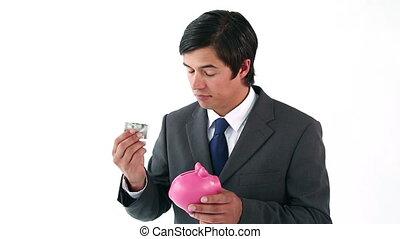 banque, porcin, notes, mettre, homme affaires