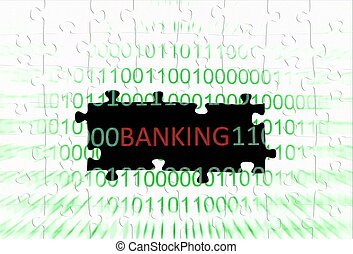 banque, puzzle, concept