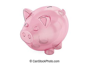 banque, rendre, porcin, transparent, vide, 3d