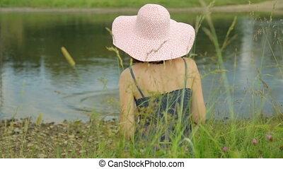 banque, reposer, rivière, femme