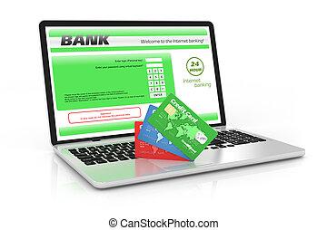 banque, service., internet