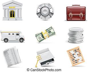 banque, set., vecteur, ligne, icône