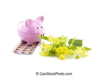banque, tilleul, tablettes, porcin, fleurs, céramique