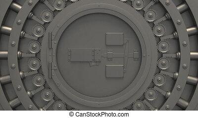 banque, vault., acier, chambre forte banque, argent