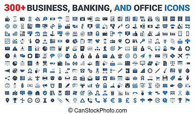 banque, vecteur, bleu, icônes, finance, ensemble, business
