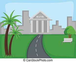 banque, vecteur, -, dessin animé, fond