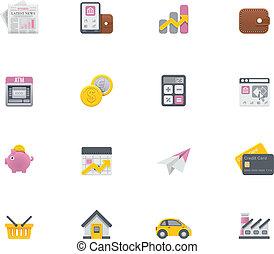 banque, vecteur, icônes