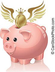 banque, voler, pièces, porcin