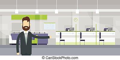 banqueiro, trabalhador, bem-vindo, gesto, modernos, banco, escritório, local trabalho