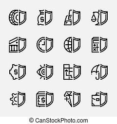 banques, argent, ensemble, protection, icônes