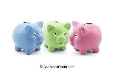 banques, trois, coloré, porcin