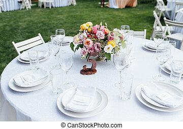 banquet., candele, sedie, honeymooners, wedding., tavola, decorato