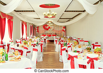banquet hall or other function facility set for fine dining