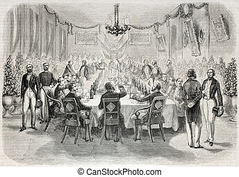 Banquet in Batavia - Old illustration of a banquet in...