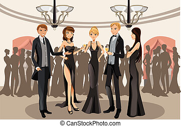Banquet party - A vector illustration of people in a banquet...