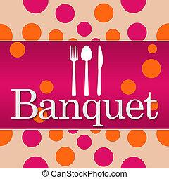 Banquet Pink Orange Dots Square