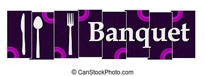 Banquet Purple Pink Rings Horizontal - Banquet text written...