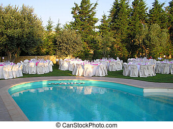 banquet reception by the pool