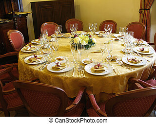 banquet, table.