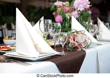 Banquet table - Preparing before the wedding, a holiday...