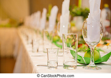 banquet table setting in restaurant