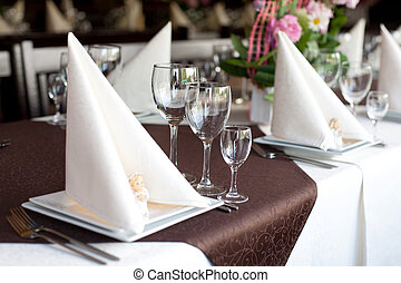Banquet table - Table with fish dishes and served silverware