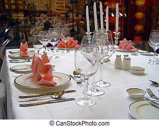 BANQUET TABLE - Banquet table setting for wedding.