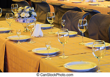 Banquet table with flowers