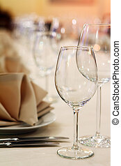 Banquet table with restaurant serving - Photo of...