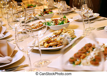 Banquet table with snacks