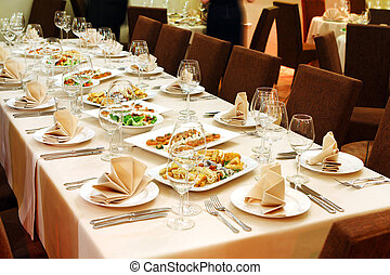 Banquet table with snacks - Banquet table with restaurant...