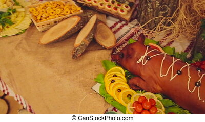 Banquet. The food at the wedding table. Meat, snacks and drinks.