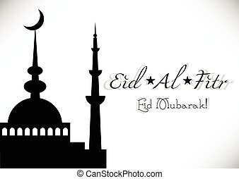 banquete, saludo, islámico, eid, al-fitr, tarjeta