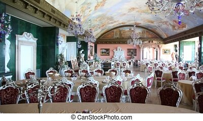 Banqueting hall in medieval castle, panoramic view