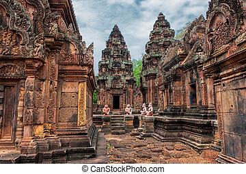 banteay, srei, cambodge