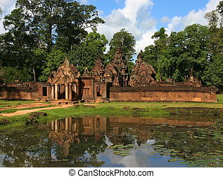 banteay, srei, temple., angkor., siem, récolter, cambodia.