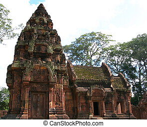 banteay, srei, temple., angkor., siem, reap., cambodge