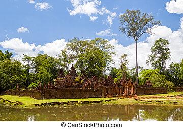 banteay, srei, temple, dans, jour ensoleillé, siem,...