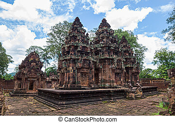 Banteay Srei Temple main structures, Siem Reap, Cambodia.