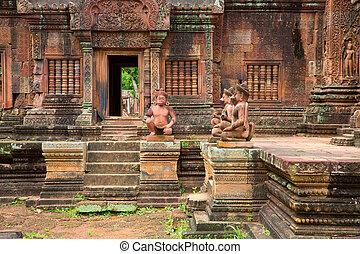 Banteay Srei Wat closeup detailed view, Siem Reap, Cambodia