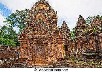 Banteay Srei Wat wide angle detailed view, Siem Reap,...