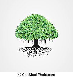 Banyan tree vector illustration with roots and green leaves.