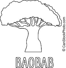 Baobab icon, outline style.