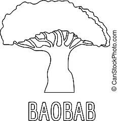 Baobab icon, outline style.