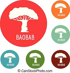 baobab kopyto, ikona, kruh, dát, vektor