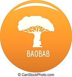 baobab kopyto, ikona, vektor, pomeranč