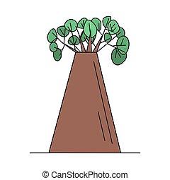 baobab kopyto, oproti neposkvrněný, grafické pozadí, vektor, ilustrace